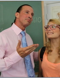 Geeky blonde schoolgirl French kisses and blows off her horny teacher