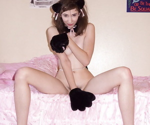 Kinky brunette teen Yvette Nolot having distraction round a revealing costume