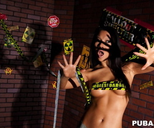 Hot Asian chick Asa Akira has her nice tits laid bare by a zombie