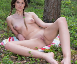 Teen amateur removes yon a certain White-hot Riding Hood outfit yon get undressed in the wilderness