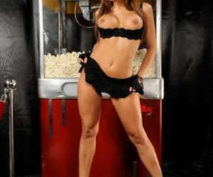Affy latina toddler yon uniform Alexa Nicole similarly her big bosom