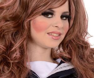 Cutie Hungarian Judy Smile wears a Japanese schoolgirl uniform & masturbates