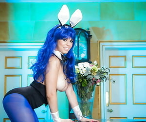 Cute Euro bunny Nekane Appealing stripping off leotards and onesie