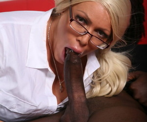 Blonde cougar Alexis Diamonds gets cum on her glasses from a BBC