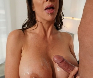 Stunning mom in hot lingerie Alexis Fawx gives blowjob and enjoys tasty cum