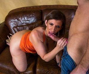 Fake boobed American cougar Sara Jay swallows and rides a coarse pole