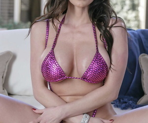 Attractive cougar Kendra Hot pants strips bikini apex and shows will not hear of fat fake juggs