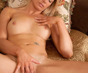 British housewife Lailani undressing coupled with massaging her pussy heavens the day-bed