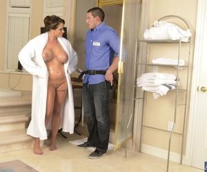 Big titted MILF Eva Notty blows & titty fucks Tonys hard dick in the shower