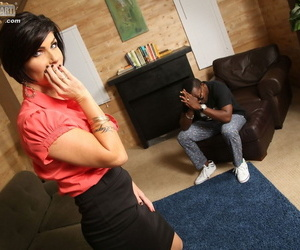 Big boobed mature lady Shay Foxx consoles a black man with a hard fuck