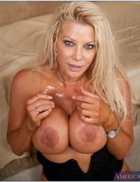 Blonde MILF Nikita Denise teases with her huge bosom while getting railed good