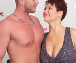 Gruff haired adult housewife in stockings gets facialed apart from a handsome timber