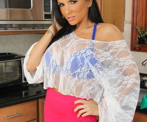 Dirty MILF Romi Rain strips off in the kitchen for closeup pussy spreading
