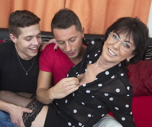 Elder overcast housewife is unclad away from 2 younger boys