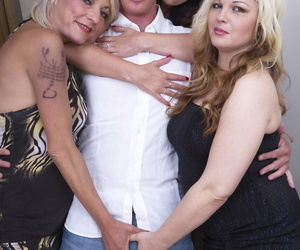 Clothed UK housewives share their first lesbian kisses in front of a lucky man