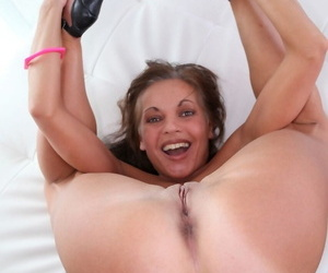 Flexible amateur slut Claudia Atkins posing with a lot of cum in her mouth