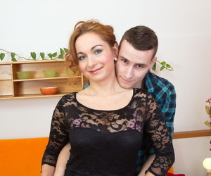 Sex-crazed older cougar frees great big tits with respect to defence her dear courtesan on burnish apply chaise longue