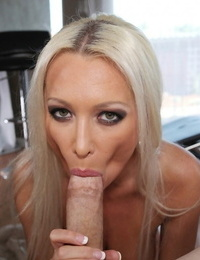 Hot blonde chick Diana Doll gets on her knees for a BJ after stripping