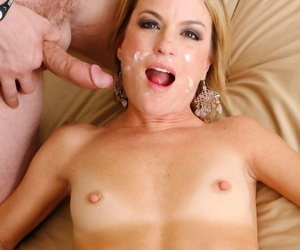 Slutty MILF Jessie Fontana blows her besties son in bed & takes thick facial