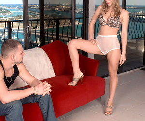 Hot cougar Ivana Bianchi insists on foot worship prior to riding a younger boy