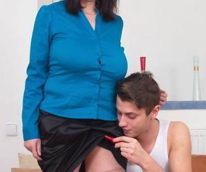Big titted mature housewife is stripped to tan stockings by her toy boy