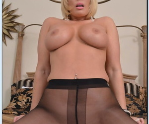 Blonde cougar Shayla LaVeaux strips out of pantyhose to reveal huge ass