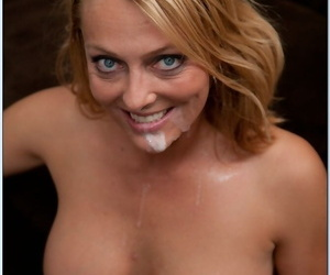 Blonde cougar Brenda James deepthroating & riding a stud on a couch