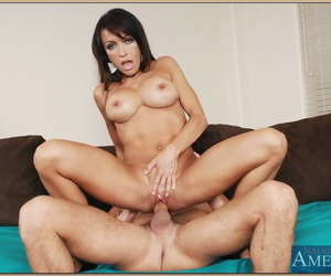 Fake titted cougar Sami Scott enjoys young dick & gets a mouthful of cum