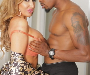 MILF Richelle Ryan unleashes her huge tits and ass to seduce a black stud