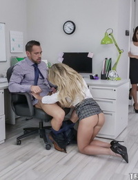 Office babes Isabelle Deltore and Isabelle Nice gets fucked in a threesome