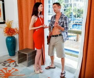 Thin teen Audrey Grace seduces a man wearing a red dress and heels
