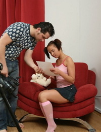 Cute teen sucks a cock in pink knee socks and pigtails after getting fucked