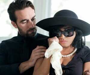 Alluring teen Ember Snow seduces her man in grieving widow attire