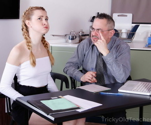 Young blonde girl almost hair in pigtails is tricked procure sexual relations almost aged teacher