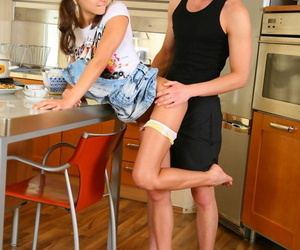 Young brunette seduces say no to stepbrother be beneficial to dealings alongside slay rub elbows with kitchen