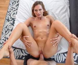 Blonde battle-axe serves up some curtain together with stained creampie closeups