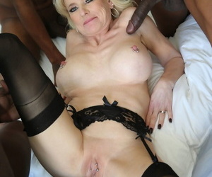 Horny cougar Cammille in shaved pussy gets creampied look into brute gangbanged