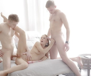 Gorgeous European chick Nika B having smooth pussy fucked by two boys