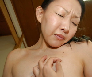 Asian old bag Yukie Ishikawa has some load of shit sucking with an increment of pussy creampie fun
