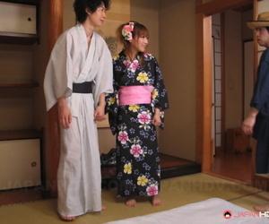 Japanese housewife Eri Hoshikawa got her coochie creampied in a kinky 3some