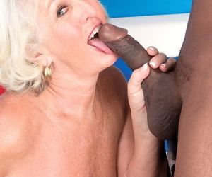 Classy granny Jeannie Lou sports a creampie sign in fucking a frowning alms-man