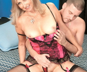 Mature in stockings Connie McCoy sucks him off before he shoves his in