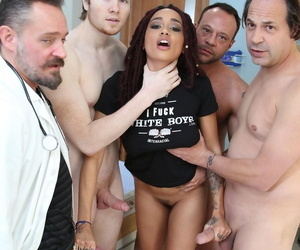 Unscrupulous cissified Julie Kay gets gangbanged wide of doctors involving her hospital courtyard