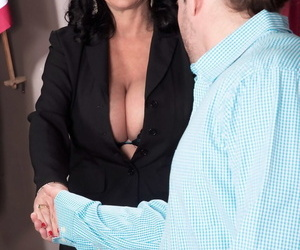 Big boobed mature lady bangs a younger man in her judges chambers