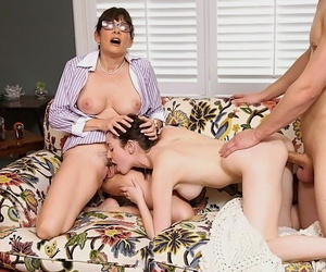 Mature babe in glasses Victoria Volt has hot reality groupsex