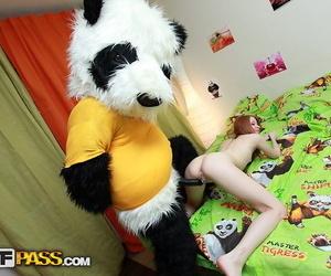 Cute redhead Ivy sports a creampie pussy tick fucking a Panda