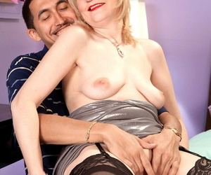 Blonde grandmother Dixie Reynolds finishes up a fuck with a creampie