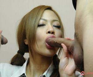 Cute Japanese redhead An Umemiya oozes sperm from her freshly fucked pussy