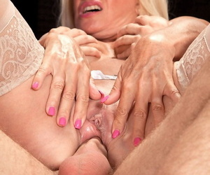 Granny Julia Butt sucks young stud cock & gets a drippy pussy creampie