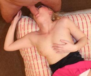 Blonde amateur Tracey Lain slides cotton panties aside for anal sex